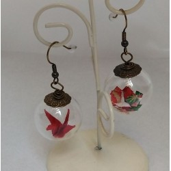 Earrings Crane in glassball