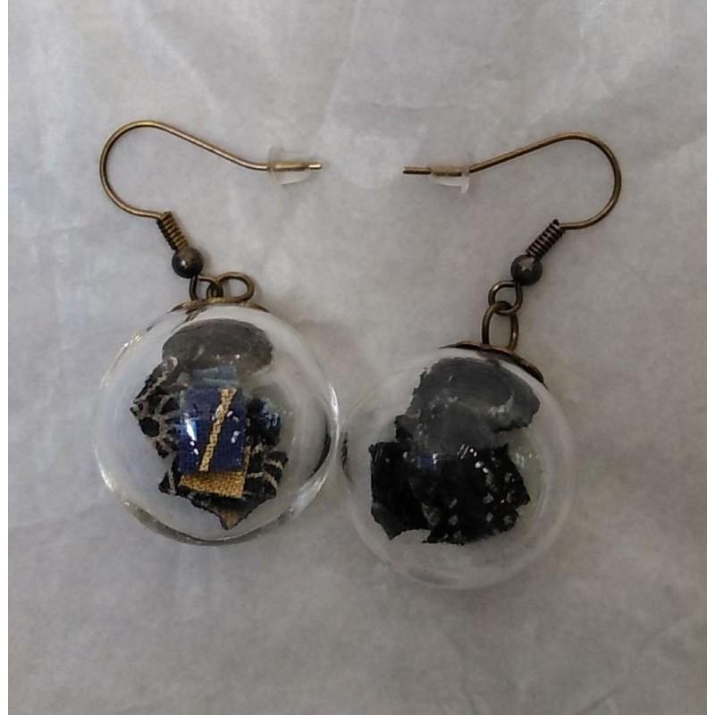 Earrings Crane in glassball