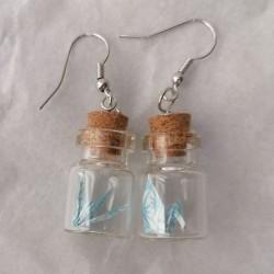 Bottle Earrings Crane-green