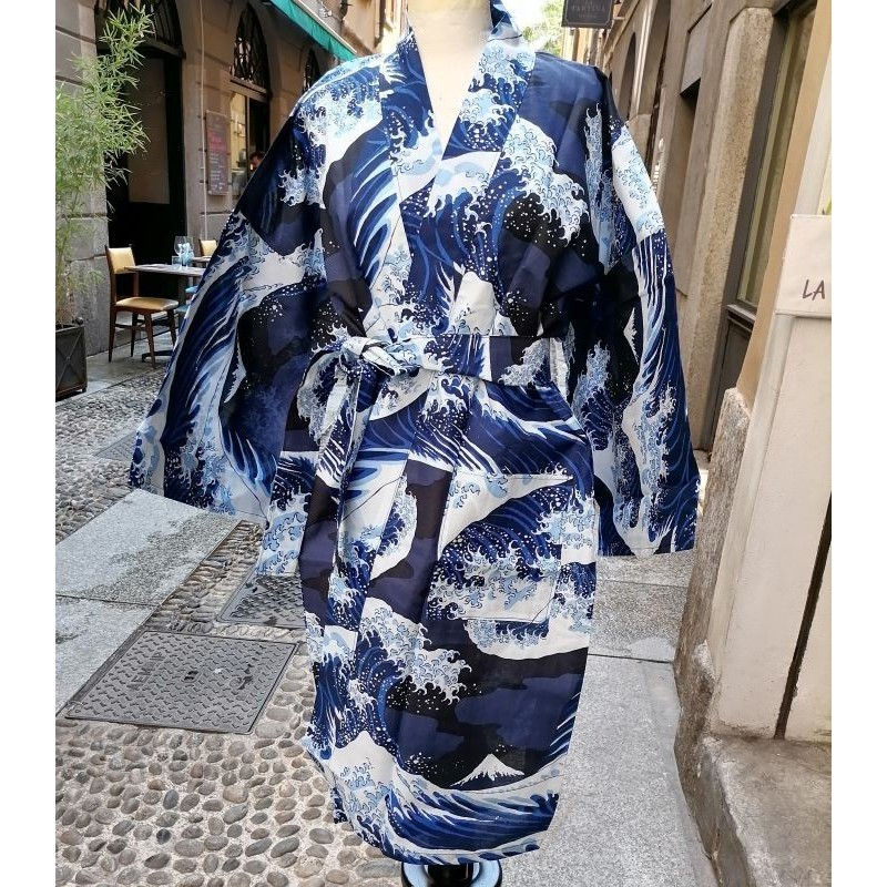 Yukata corto L blu