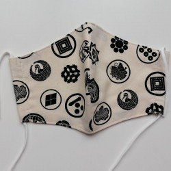 Japanese facemask in cotton for men, family crest